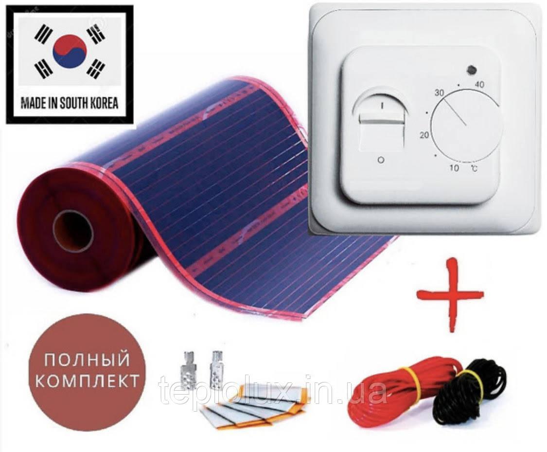 1м2. Готовий комплект саморегулюючого інфрачервоної теплої підлоги Rexva з механічним терморегулятором