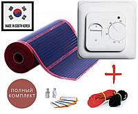 1м2. Готовий комплект саморегулюючого інфрачервоної теплої підлоги Rexva з механічним терморегулятором, фото 1