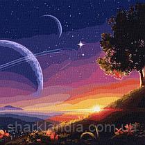 Картина по номерам Идейка Серия Космос Путь в космос 50х50 см KH9545 Закат Большой размер пейзаж Абстракция