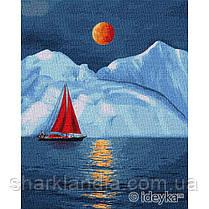 Картина по номерам Идейка Красный парусник 40х50 см KHO2751 Ледник Алые паруса Пейзаж Природа Вода горы