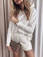 Женский стильный спортивный костюм кофта с капюшоном и шорты, фото 1