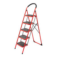 Драбина 5 ступені 380*260мм висота 1617мм, до верхньої сходинки 1215мм INTERTOOL LT-0039