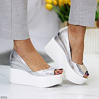 Женские туфли кожаные на высокой танкетке и платформе серебряные с открытым носком Round