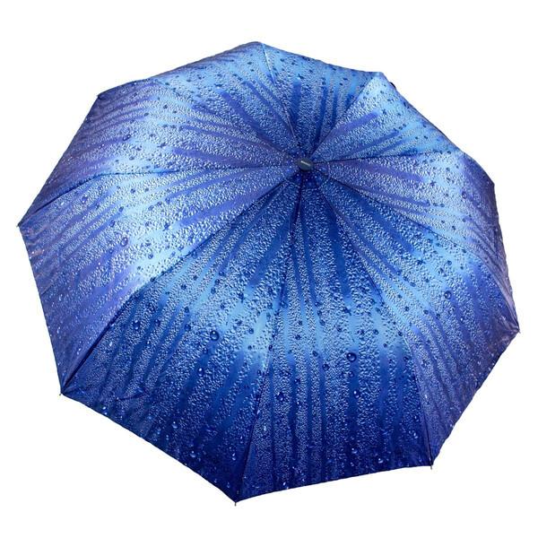 Женский зонтик полуавтомат складной с каплями дождя 9 спиц антиветер Синий качественный Mario 86-1