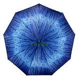 Женский зонтик полуавтомат складной с каплями дождя 9 спиц антиветер Синий качественный Mario 86-1, фото 3