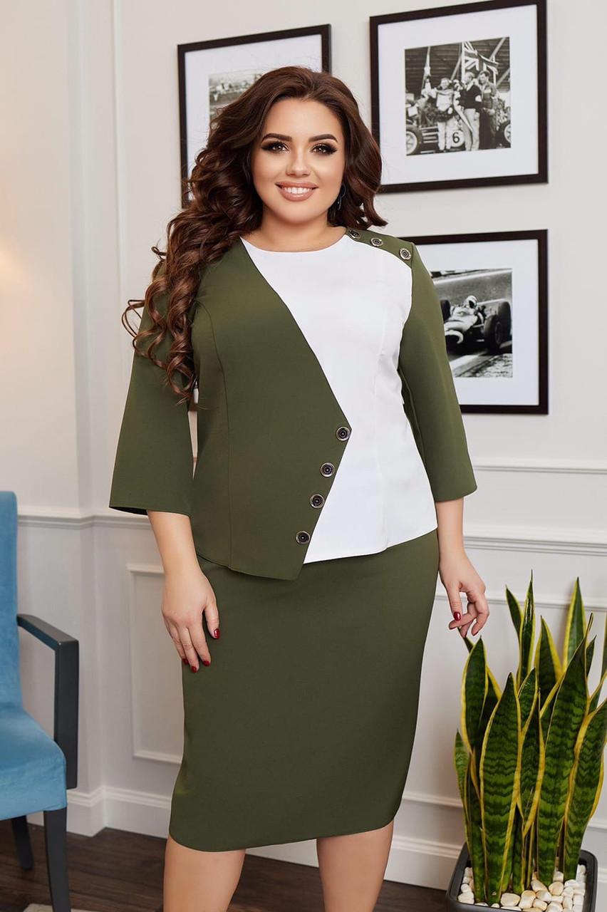 Елегантний жіночий діловий костюм: двоколірна блуза та класична пряма спідниця, батал великі розміри