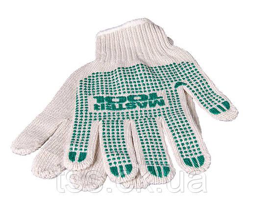 Перчатки трикотажные с ПВХ-точками 70%хлопок/30%полиэстер 10 кл, 3 нити белые MASTERTOOL 83-0301, фото 2