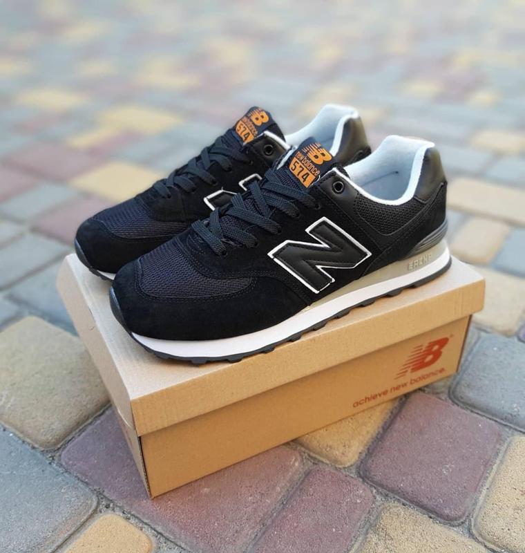 Чоловічі чорні кросівки натуральний замш і текстиль в стилі New Balance 574