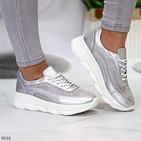 """Жіночі шкіряні кросовки з сіткою Сріблясті """"Grid"""", фото 1"""