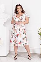 Стильне жіноче літнє плаття в квіточку на запах під пояс, фото 1