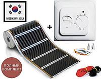 """9м2. Інфрачервона тепла підлога """"RexVa"""" (Корея), комплект з механічним терморегулятором RTC70.26, фото 1"""
