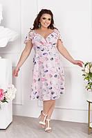 Женское стильное летнее платье на запах под пояс, фото 1