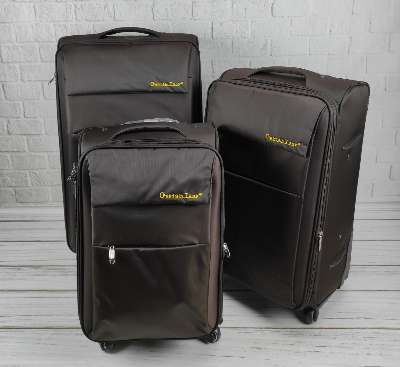 Комплект дорожніх тканинних валіз 6307 (коричневий) з 3х шт на колесах