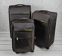 Комплект дорожніх тканинних валіз 6307 (коричневий) з 3х шт на колесах, фото 1