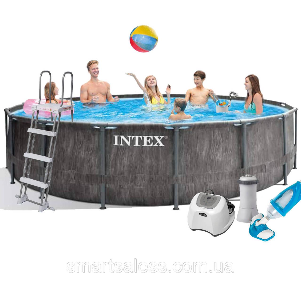 Каркасный бассейн Intex 26742 - 6, 457 x 122 см (4 г/ч, 3 785 л/ч, тент, подстилка, лестница, набор для ухода)