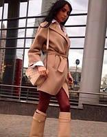Женское стильное пальто под пояс