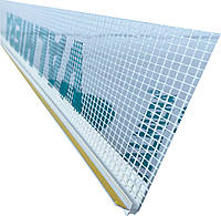 Профиль оконный примыкания 6мм с манжетой и сеткой Valmiera (прошитый)