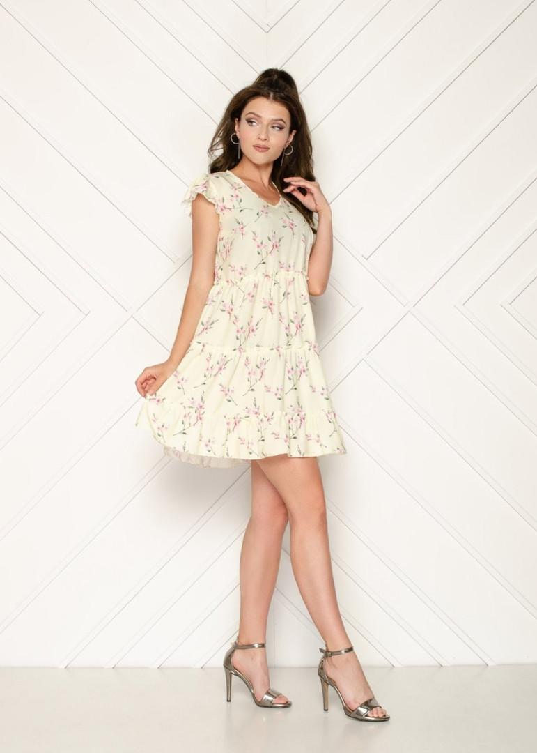 Женское платье, евро - софт, р-р 42; 44; 46; 48 (ванильный)