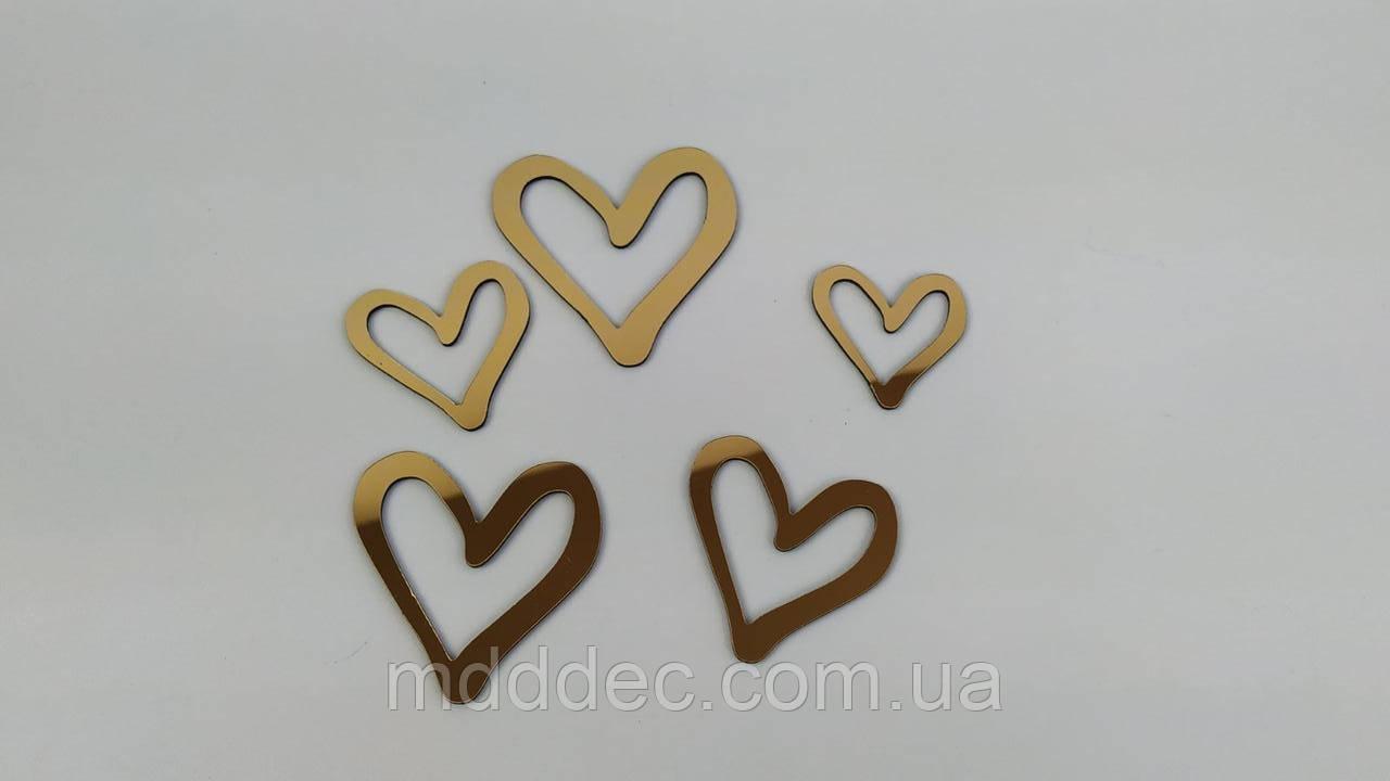 Набір дзеркальний пластик сердечок золото в наборі 5 шт