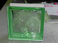 """Стеклоблок """"Волна"""" цветной зеленый 19х19х8 см - Чехия"""