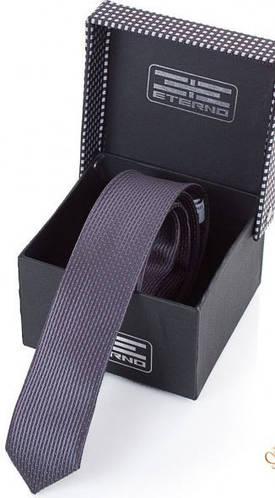 Шелковый узкий галстук ETERNO (ЭТЕРНО) EG658 фиолетовый