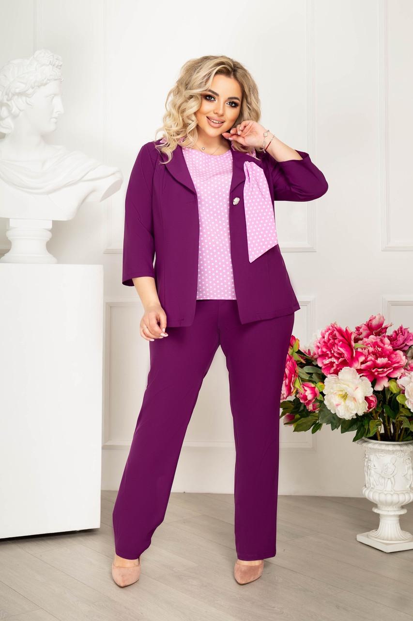 Елегантний жіночий діловий костюм трійка: блуза, штани і піджак з оригінальним коміром, батал великі розміри