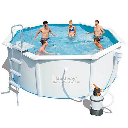 Збірний басейн Bestway 56566 (56284), Hydrium Poseidon Pool 300 х 120 см (2006 л/год (пісочний), сходи,