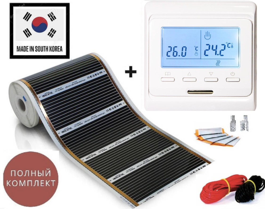 """12 м2.Інфрачервона тепла підлога """"RexVa"""" (Корея), комплект з програмованим терморегулятором Menred E51"""