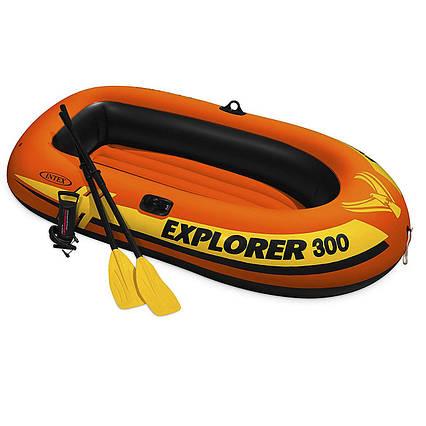 Двомісна Intex надувний човен 58332 Explorer 300 Set, 211 х 117 см, (весла, ручний насос)