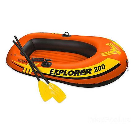 Полутораместная Intex надувний човен 58331 Explorer 200 Set, 185 х 94 см, (весла, міні насос)