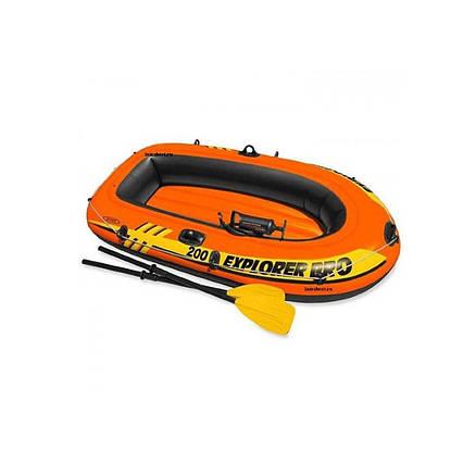 Полутораместная Intex надувний човен 58357 Explorer PRO 200 Set, 196 х 102 см, (весла, ручний насос)