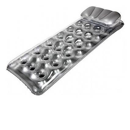 Пляжний надувний матрац з підголовником Intex 58894, 188 х 71 см, сріблястий