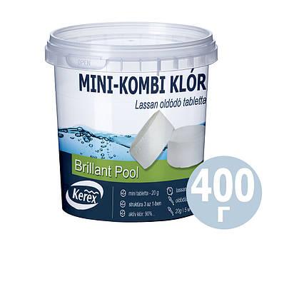 Таблетки для басейну MINI «Комбі хлор 3 в 1» Kerex 80008, 400 г (Угорщина)