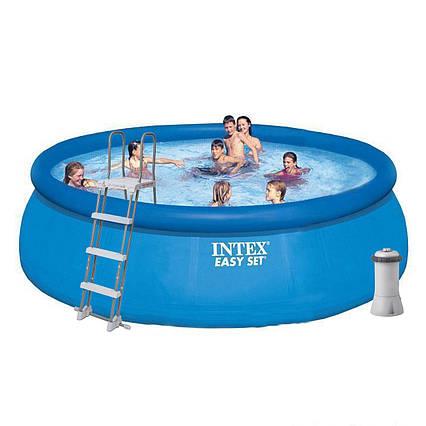 Надувний басейн Intex 26168, 457 х 122 см (3 785 л/год, сходи, тент, підстилка)