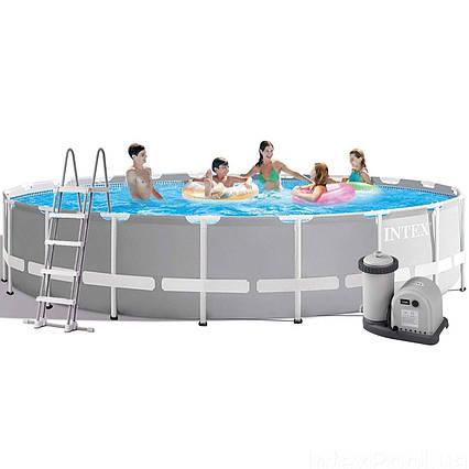 Каркасний басейн Intex 26756, 610 х 132 см (5 678 л/год, сходи, тент, підстилка)