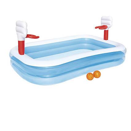 Дитячий надувний басейн Bestway 54122 «Баскетбол», 254 х 168 х 102 см, з кульками
