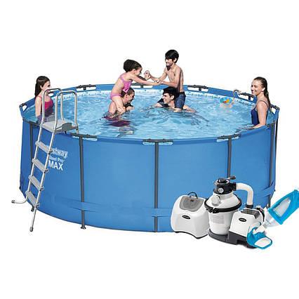 Каркасний басейн 15427 - 10, 366 х 133 см (5 р/год, 6 000 л/год, сходи, тент, підстилка, набір для