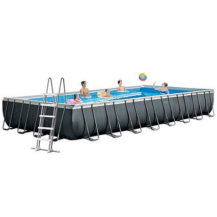 Каркасний басейн Intex 26378 - 1, 975 х 488 х 132 см (сходи, тент, підстилка, сітка)