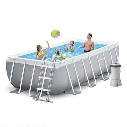 Каркасний басейн Intex 26788 - 4, 400 x 200 x 100 см (2 006 л/год, сходи, тент, підстилка)