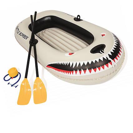 Полутораместная Bestway надувний човен 61108 Battle Bomber Raft, 188 х 98 см, (весла, ножний насос)