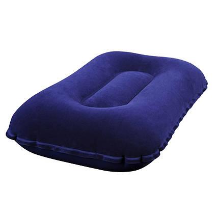 Надувна флокірована подушка Bestway 67121, 42 х 26 х 10 см, синя