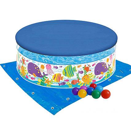 Басейн дитячий надувний Intex 56452-3 «Океан», 183 х 38 см, з кульками 10 шт, тентом, підстилкою
