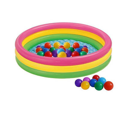 Дитячий надувний басейн Intex 57422-1 «Кольори заходу сонця», 147 х 33 см, з кульками 10 шт