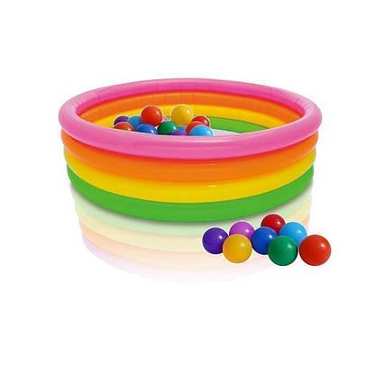 Дитячий надувний басейн Intex 56441-1 «Веселка», 168 х 46 см, з кульками 10 шт