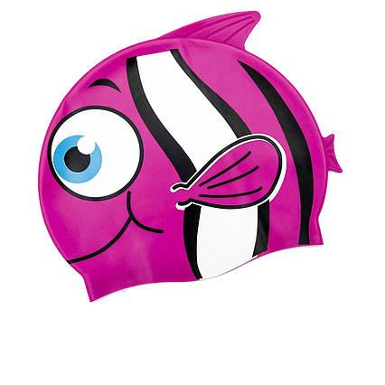 Шапочка для плавання Bestway 26025 «Рибка», розмір S, (3+), обхват голови ≈ 50 см, (21 х 17, 5 см), рожева