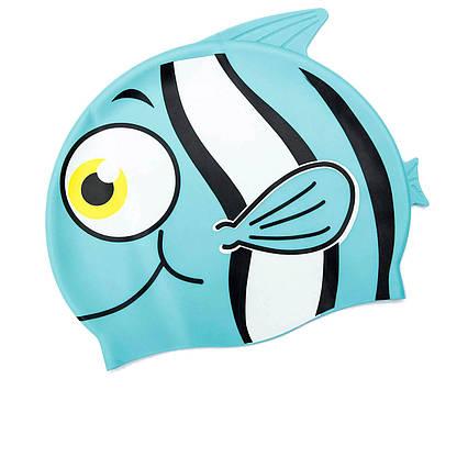 Шапочка для плавання Bestway 26025 «Рибка», розмір S, (3+), обхват голови ≈ 50 см, (21 х 17, 5 см), блакитна