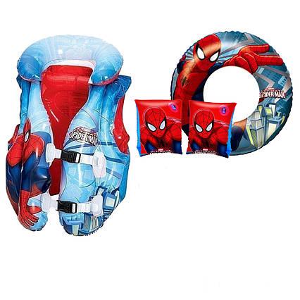 Надувний набір 4 в 1 Intex 66014 «Спайдер Мен, Людина-Павук», (жилет 98014, нарукавники 98001, коло 98003)