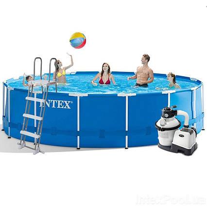 Каркасний басейн Intex 28242 - 6, 457 x 122 см (4 500 л/год, сходи, тент, підстилка)