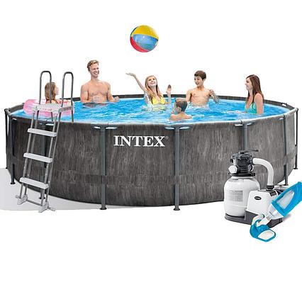 Каркасний басейн Intex 26742 - 7, 457 x 122 см (6 000 л/год, сходи, тент, підстилка, набір для догляду)