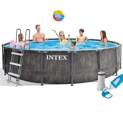Каркасний басейн Intex 26742 - 5, 457 x 122 см (3 785 л/год, сходи, тент, підстилка, набір для догляду)